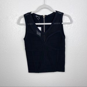 Bebe black Mesh Corsetted Bandage Top